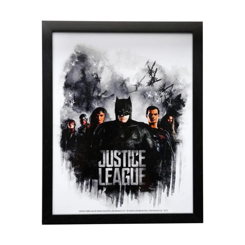 Quadro liga da justiça heroes -  vidro/madeira