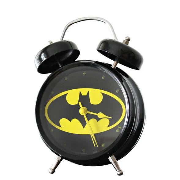 Relógio de Mesa Despertador Batman Com Som Preto