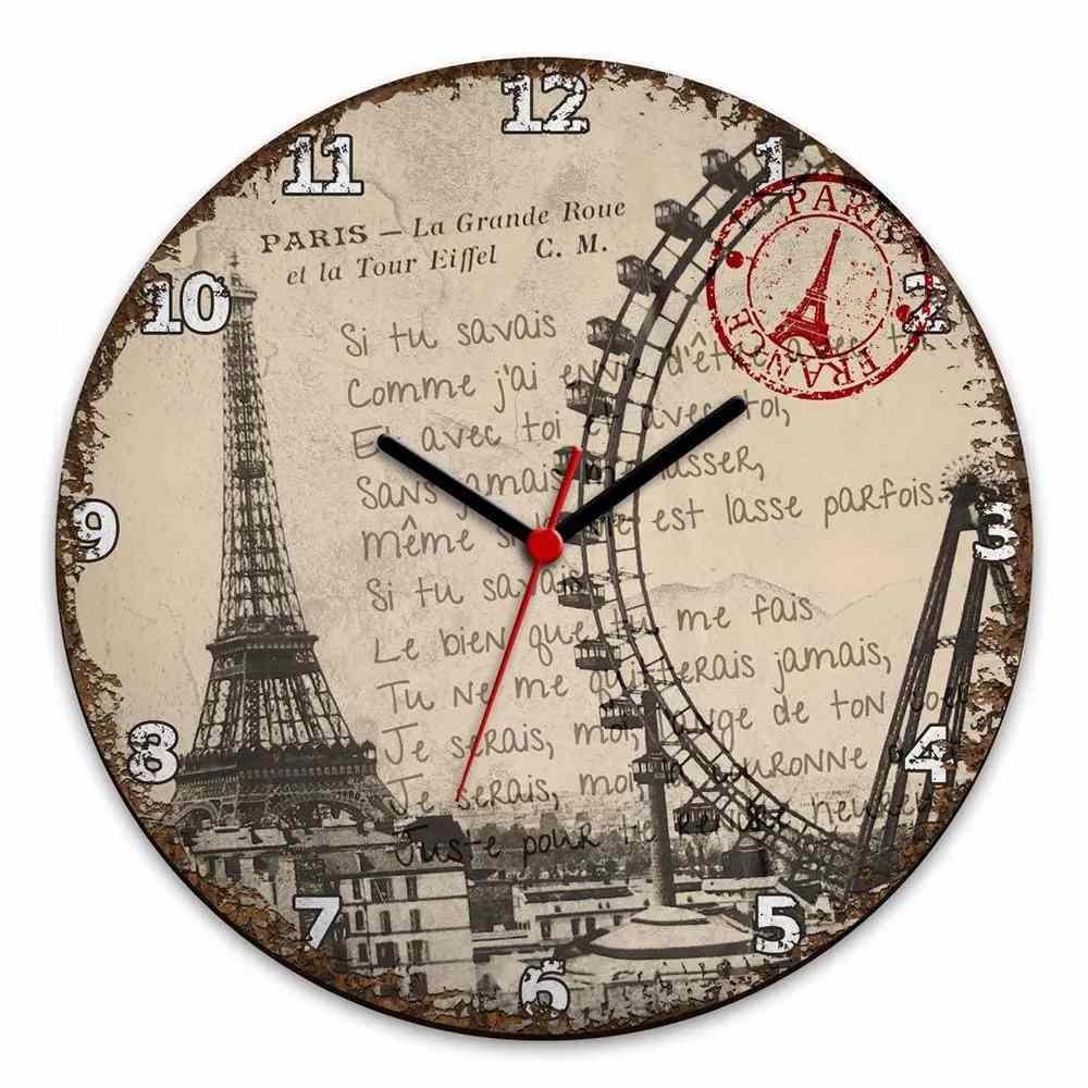 Relógio de Parede Paris Torre Eiffel