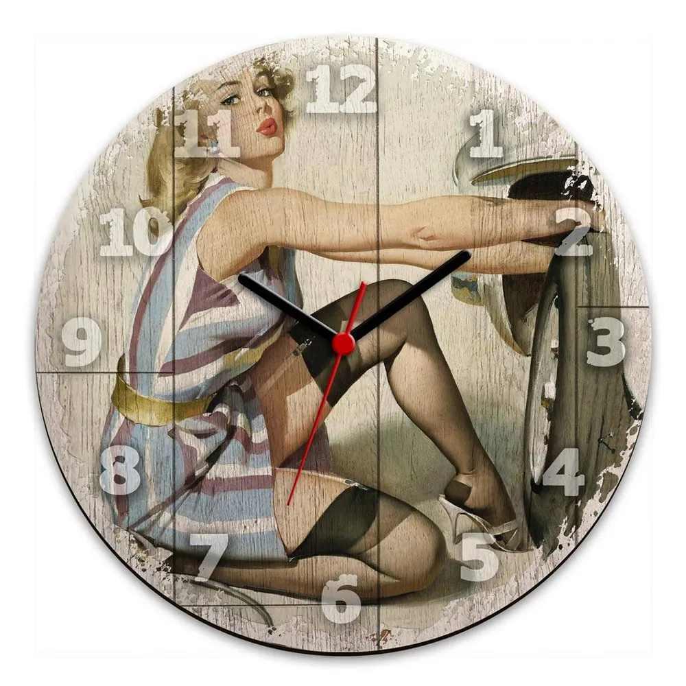 Relógio de Parede Retrô Pin-Up - Pneu