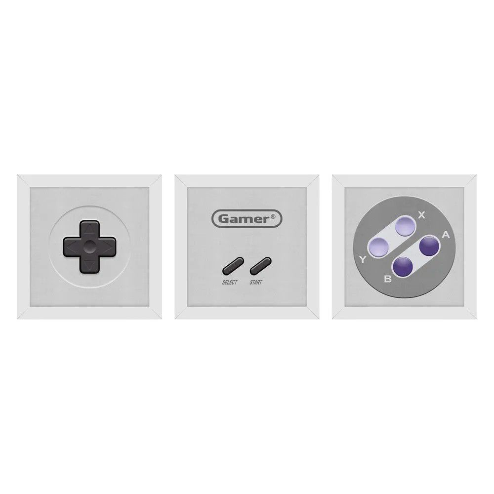 Set de Quadros Gamer Joystick 16-bits