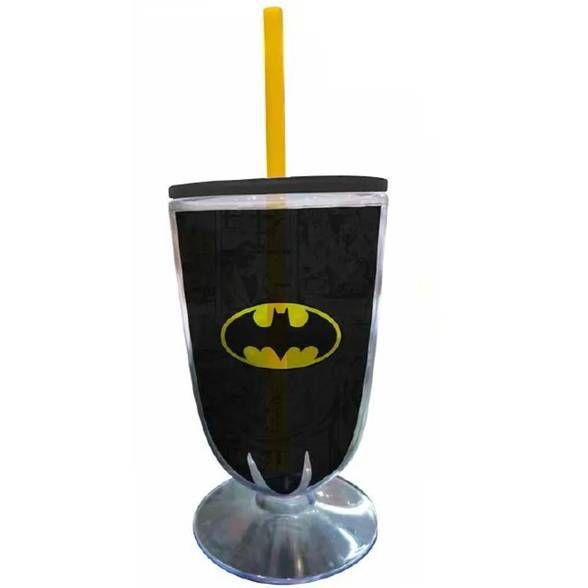 Taça Acrílica Batman Logo Preto e Amarelo