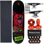 Skate Wood Light Completo Roda Bs Rolamento Imp bs Black Pro