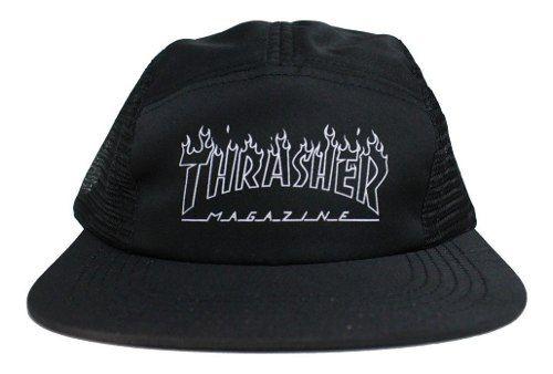 - Boné Thrasher Five Panel Flame Logo - Preto Strapback