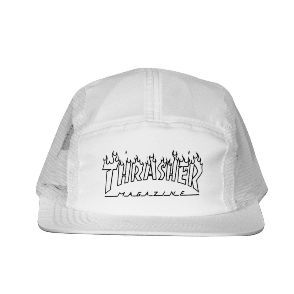 Boné Thrasher Five Panel Flame Logo - Branco Strapback