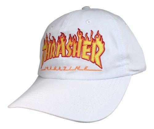Boné Thrasher Flame Logo Aba Curva - branco Strapback