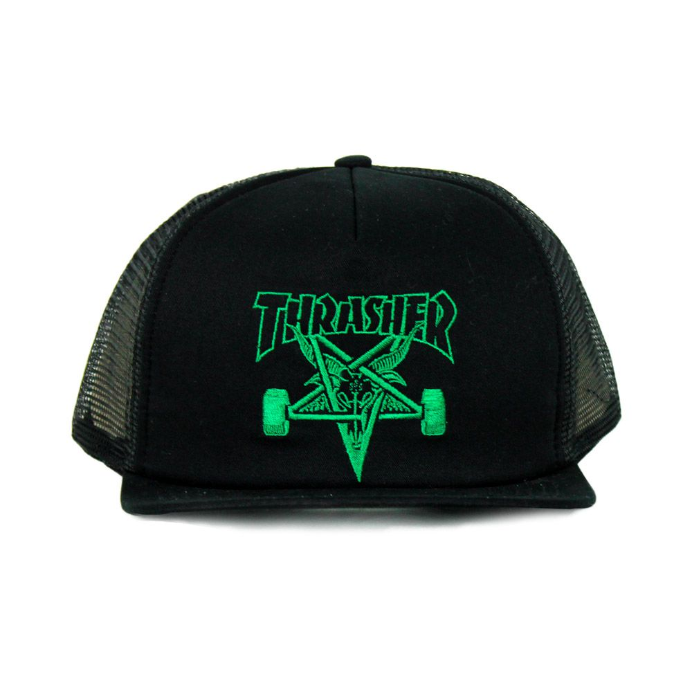 Boné Thrasher Trucker Snapback Goat Preto e Verde