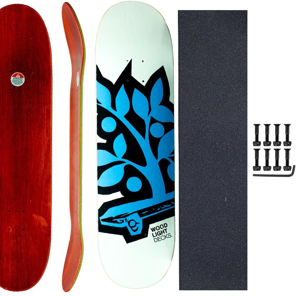 Shape Skate Wood Light 8.25 Lixa Emborrachada Parafuso Base