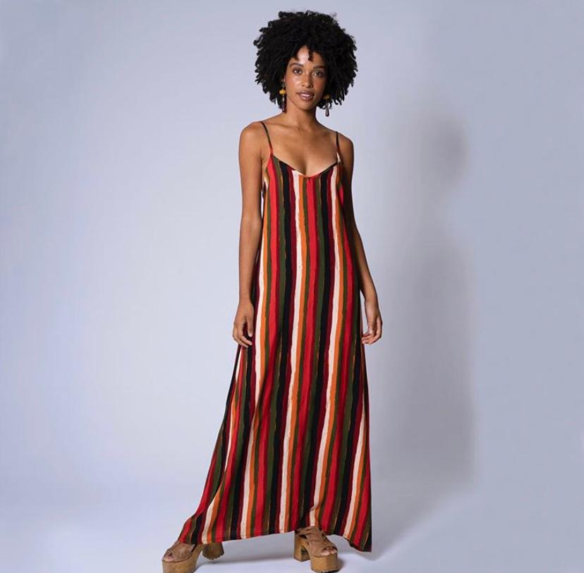 vestido longo alça costas transpassada