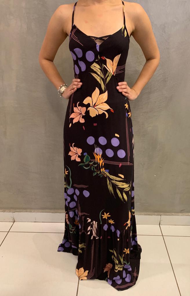 vestido longo estampado trançado