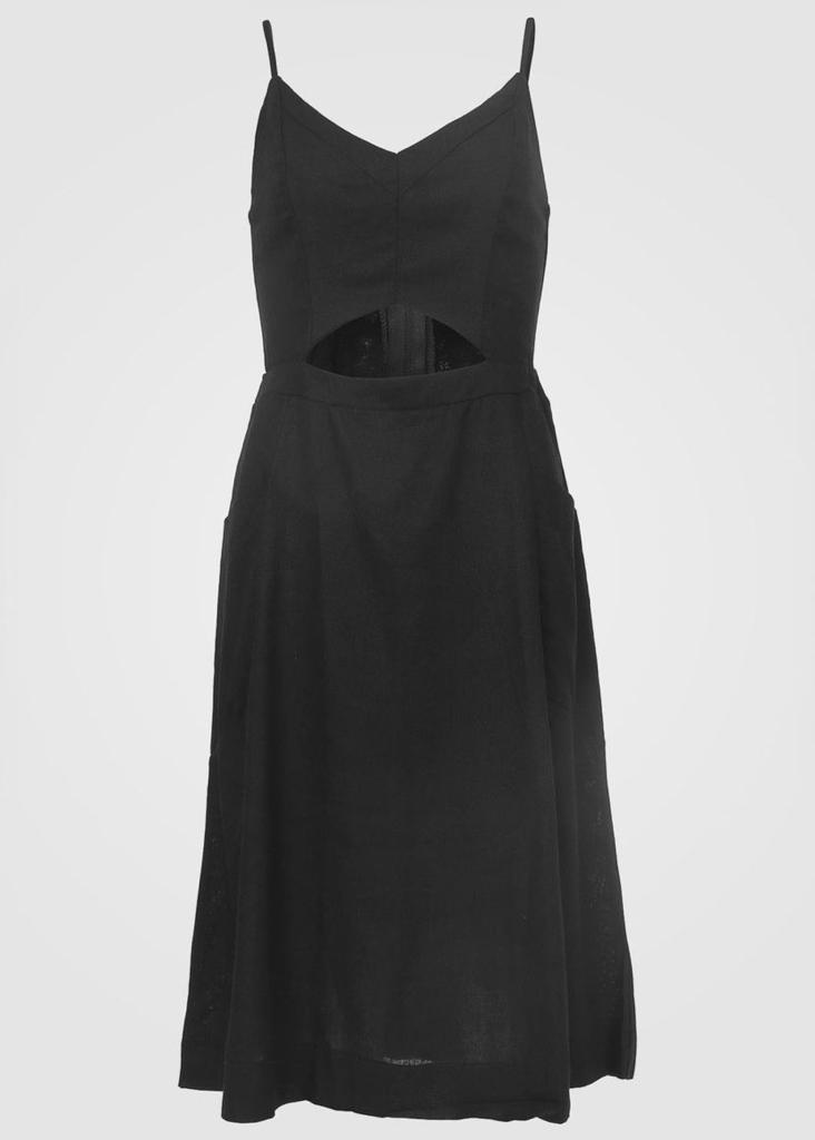 vestido liso linho com recortes