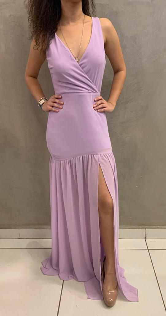 vestido longo fenda