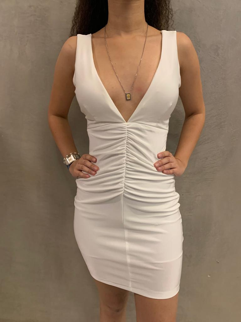 vestido curto decote drapeado