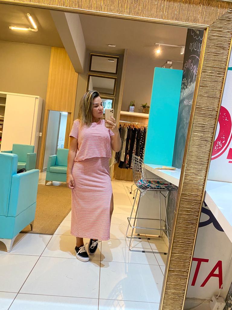 Conjunto vestido e blusa