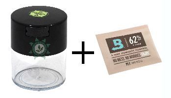 KIT POTE DARK VACUUM 300ML TRANSPARENTE + BOVEDA 8G