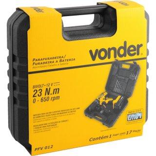 Parafusadeira/Furadeira a Bateria 12 V com Carregador Bivolt Automático, PFV 012 - Vonder
