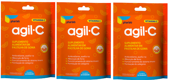 Agil C Vitamina C 100% IDR 25 Gomas Laranja 3 Unidades
