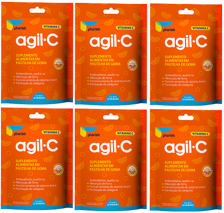 Agil C Vitamina C 100% IDR 25 Gomas Laranja 6 Unidades