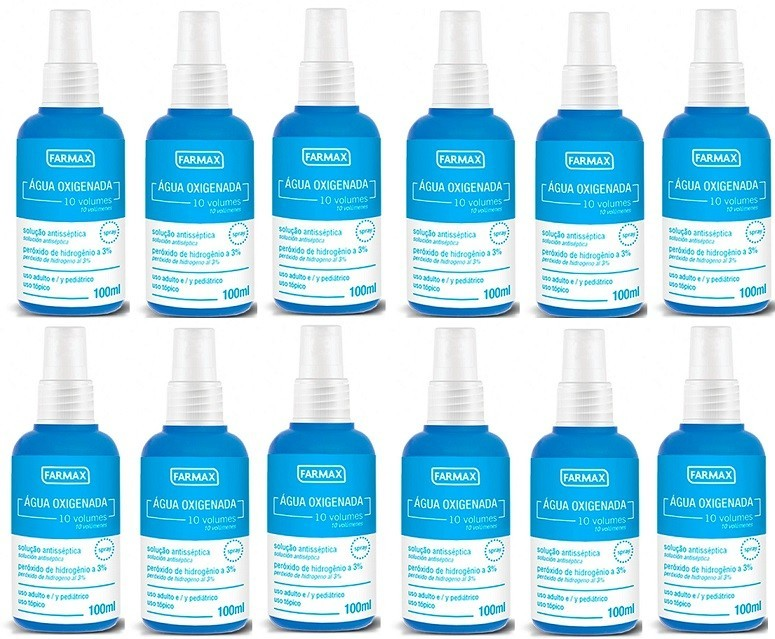 Agua Oxigenada 10vol  Antisséptica 100ml Spray Farmax 12 uni