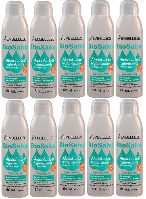 Alcool Gel 70% C/ Aloe 60ml Biosalut  Embelleze 10 Unidades