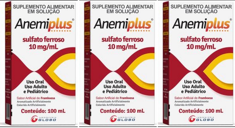 Anemiplus Sulfato Ferroso Solução 10mg/ml 100ml 3 unidades