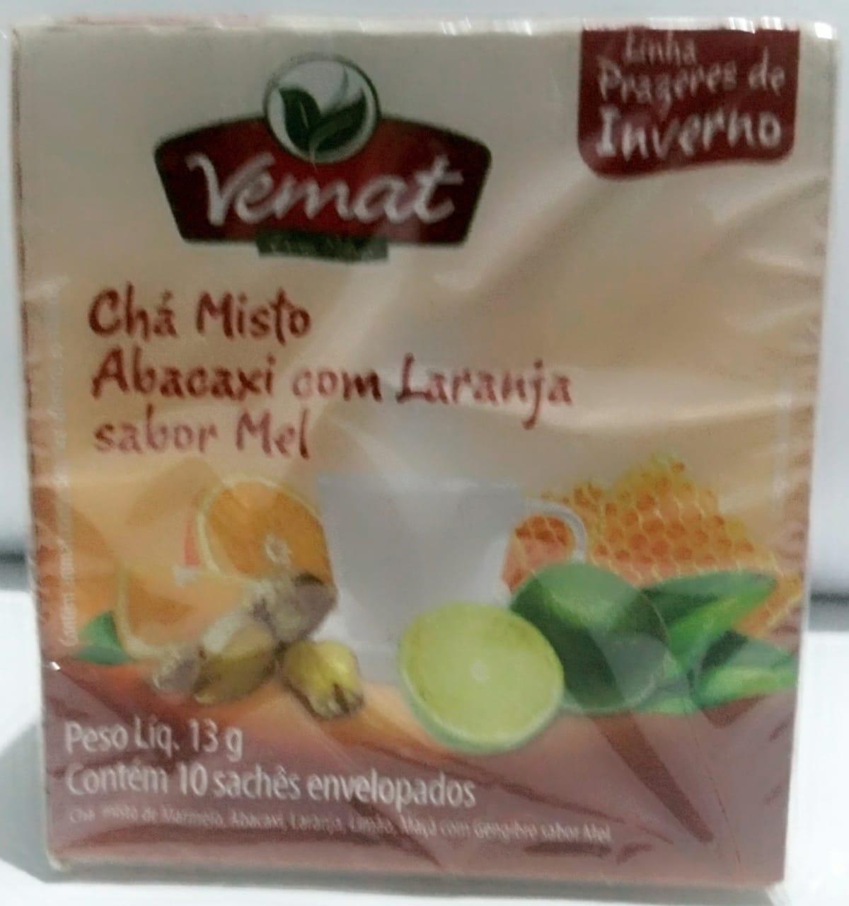 Cha  Abacaxi Com Laranja Sabor Mel 10 Saches 10g Vemat