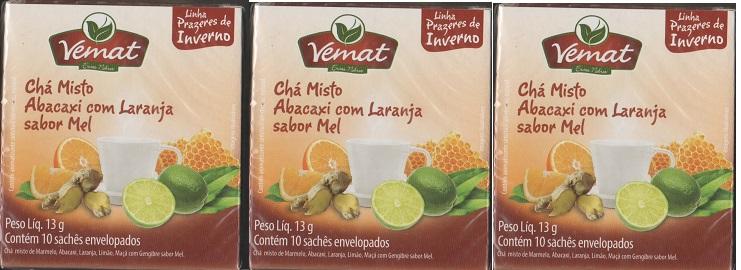 Cha  Abacaxi Com Laranja Sabor Mel 10 Saches 10g  Vemat 3 Cx