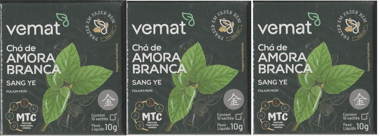 Cha Amora Branca (diabetes,resfriados) 10 Saches Vemat 3 Cx