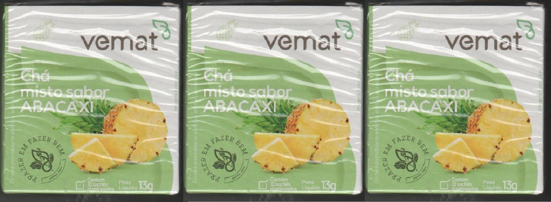 Cha De Abacaxi Vemat 10 Saches 3 Caixas