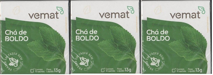 Cha De Boldo 10 saches 10g Vemat 3 Caixas