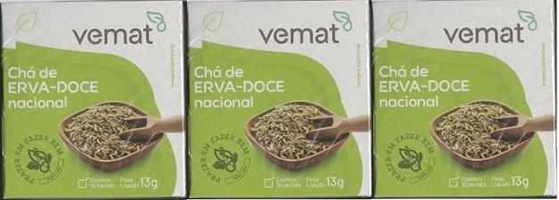 Cha De Erva Doce Nacional 10 Saches 10 g Vemat 3 Caixas