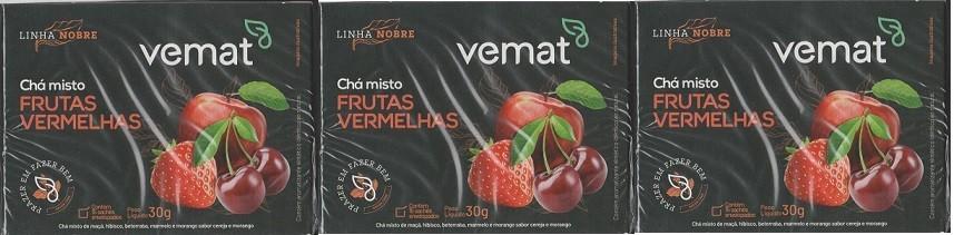 Cha De Frutas Vermelhas 15 Saches 15g Vemat 3 Caixas