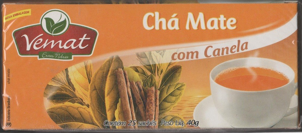 Cha De Mate Natural  Com Canela 25 Saches  40G Vemat