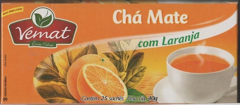 Cha De Mate Natural  Com Laranja 25 Saches  40G Vemat