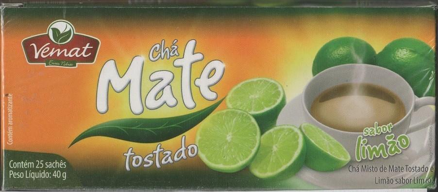 Cha De Mate Natural  Com Limão 25 Saches  40G Vemat