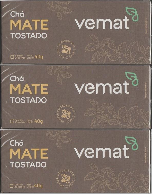 Cha De Mate Tostado Natural 25 Saches  40G Vemat