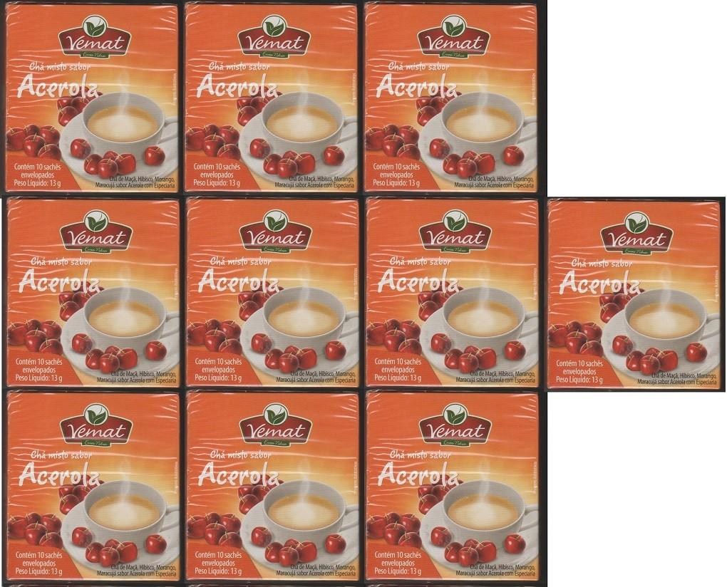 Cha Frutado Acerola 10 Saches Vemat 10 caixas