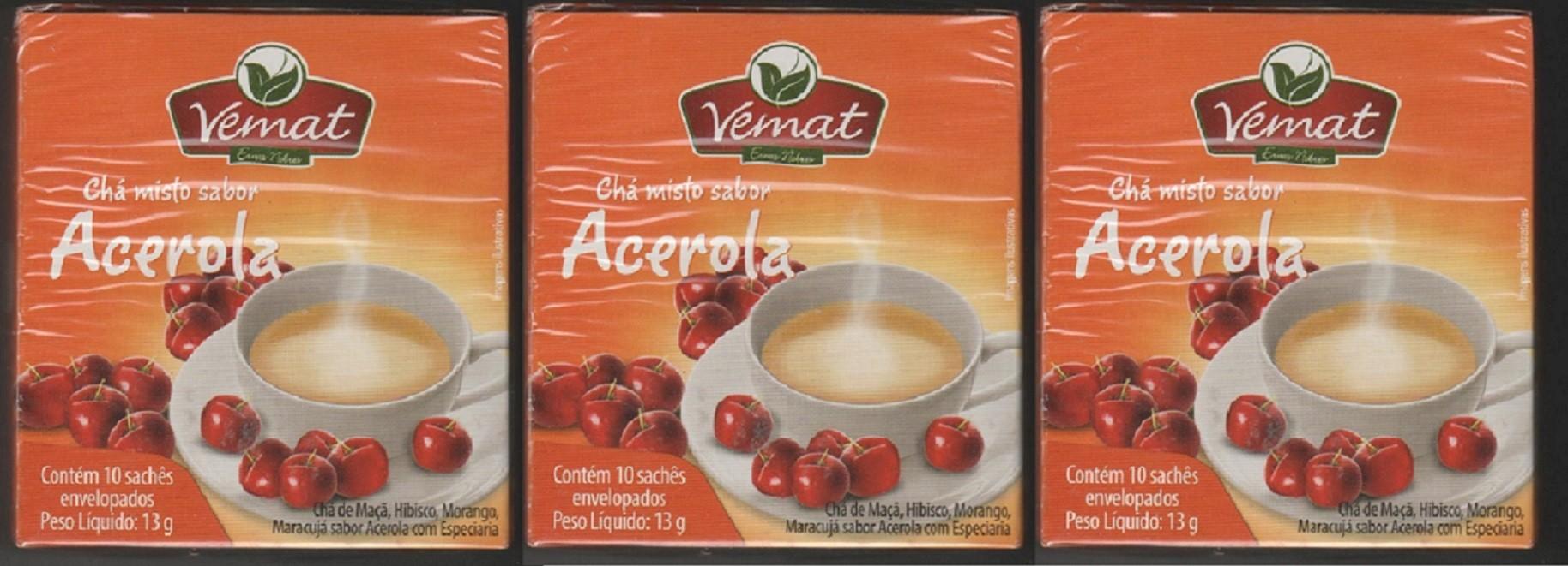 Cha Frutado Acerola 10 Saches Vemat 3 caixas