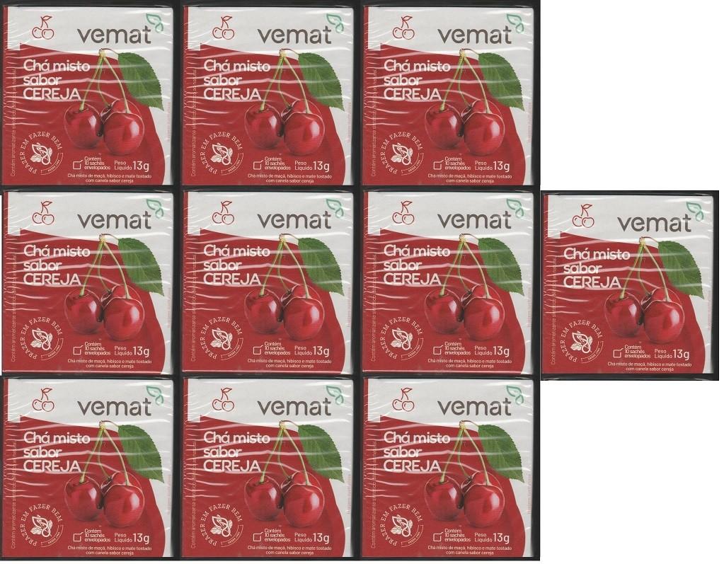 Cha Frutado Cereja VEMAT 10 Saches 10 caixas