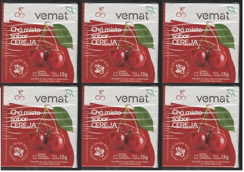Cha Frutado Cereja VEMAT 10 Saches 6 caixas