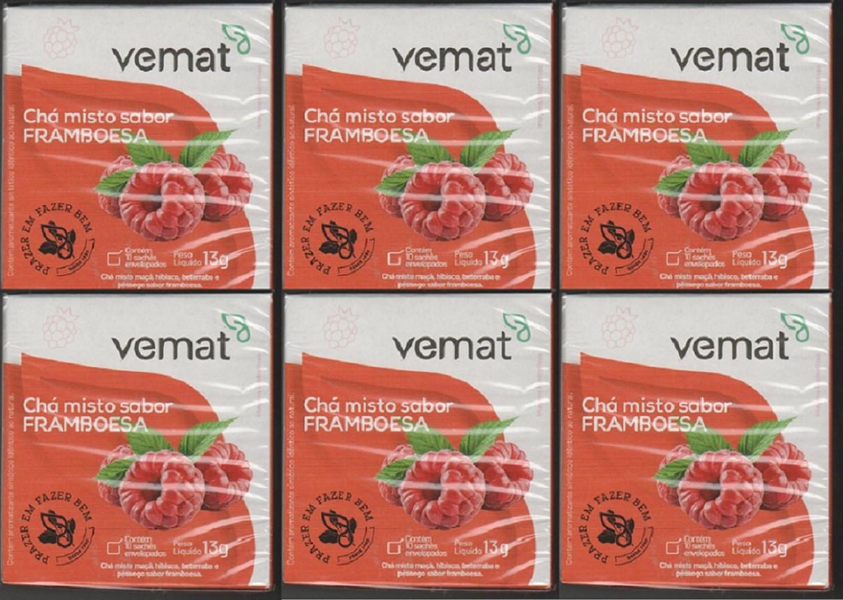 Cha Frutado De Framboesa 10 Saches Vemat 6 Caixas