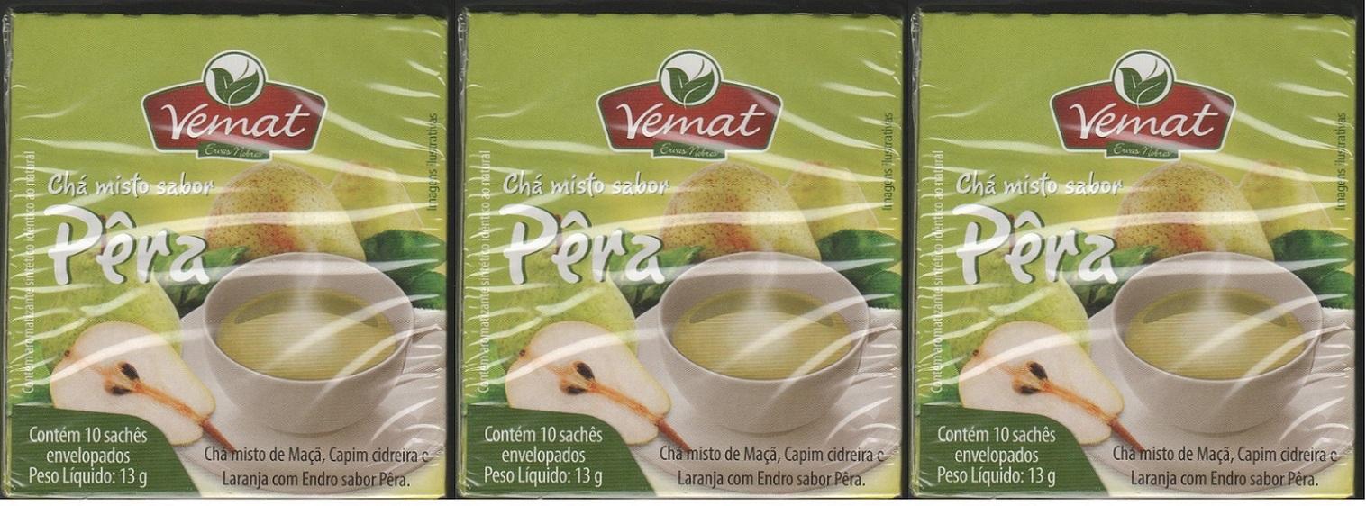 Cha Frutado Pera 10 Saches Vemat 3 unidades
