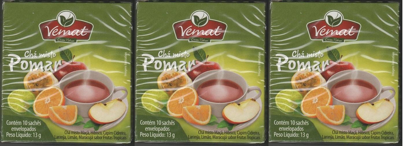 Cha Frutado Pomar 10 Saches Vemat 3 unidades
