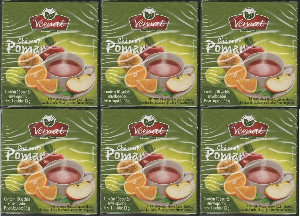 Cha Frutado Pomar 10 Saches Vemat 6 unidades