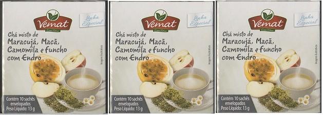 Chá Maracujá Maça Camomila Funcho Endro 10 Sache 10g 3 Cx