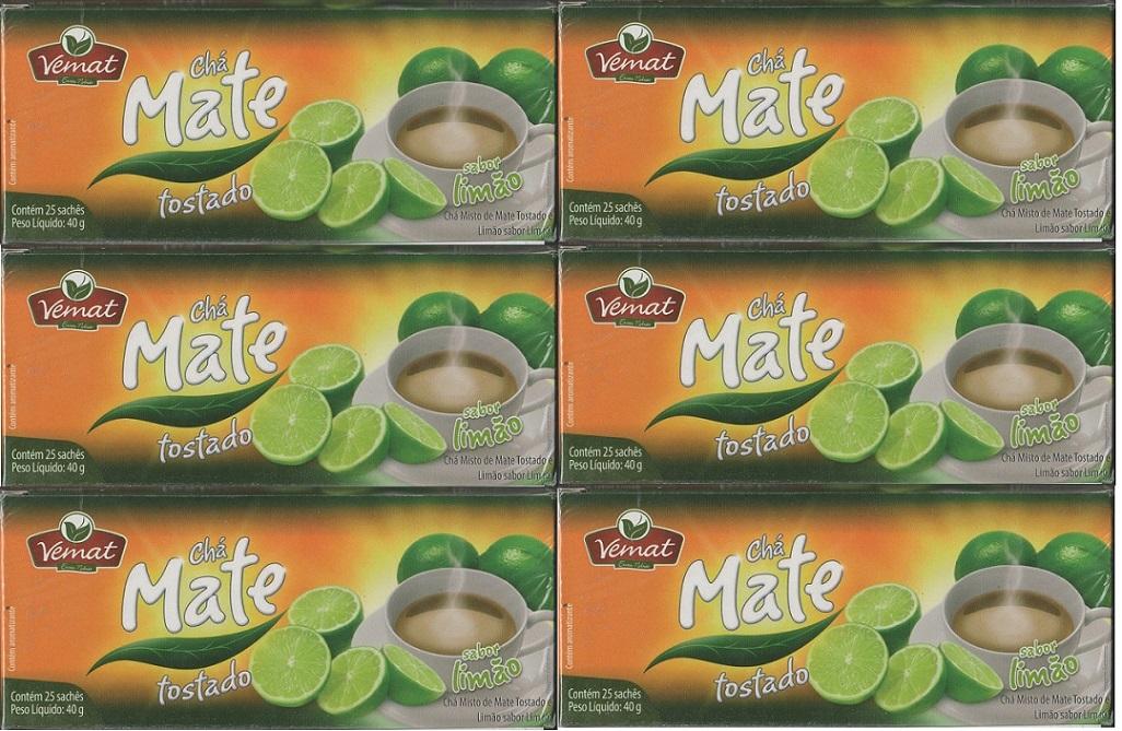Cha Mate Natural  Com Limão 25 Saches  40G Vemat 6 caixas