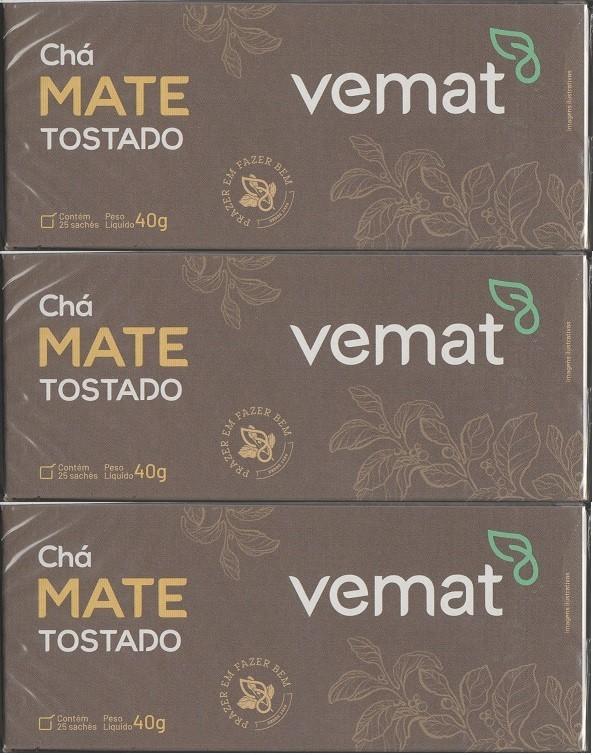 Cha Mate Tostado Natural 25 Saches  40G Vemat 3 caixas