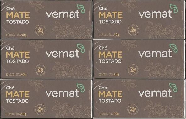Cha Mate Tostado Natural 25 Saches  40G Vemat 6 caixas
