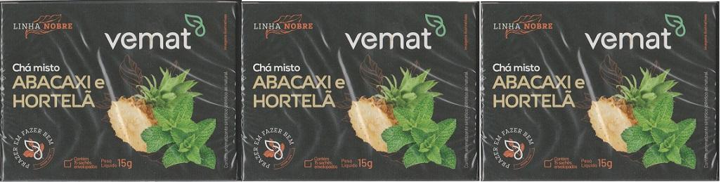 Cha Misto Abacaxi Com Hortela 15 Saches 15g Vemat 3 Caixas