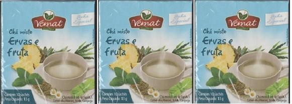Chá Misto Ervas E Fruta 10 Saches 13g Vemat 3 Caixas